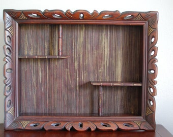 Large wood shadow box wall shelf tiki style gold accents Mid Century