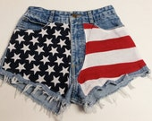 "Waist 24"" ---Ready to Ship----Vintage  Guess high waist  Denim Shorts - American Flag Style"