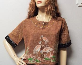 Vintage ethnic Woven Cotton Top with Ebroidered Flamingo's Sz  Medium