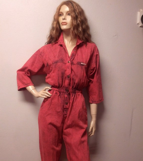 Portland Trail Blazers Broken Leg Video: Vintage 80's Red Denim Jumpsuit Pants Sz By GypsysTreasureCove