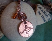 Glastonbury Tor copper pendant with amber beads