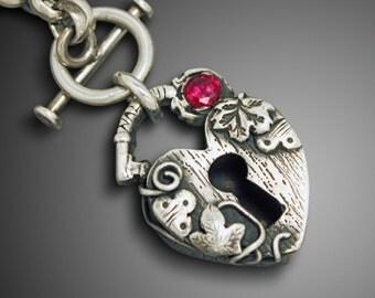 Heart Padlock Necklace, Heart Padlock Pendant, Heart Locket, Heart Locket Pendant, Custom Heart Pendant, Silver Heart Padlock Necklace