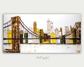 Original New York City Skyline Painting Coloful Modern Abstract Painting Citysvape Home Decor