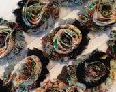 "Gray Black Peacock Shabby Rose Trim 2.5"" Shabby Flowers Shabby Chiffon Flowers - Printed Shabby Chic Trim Wholesale Rosette trim 6cm 1 yard"