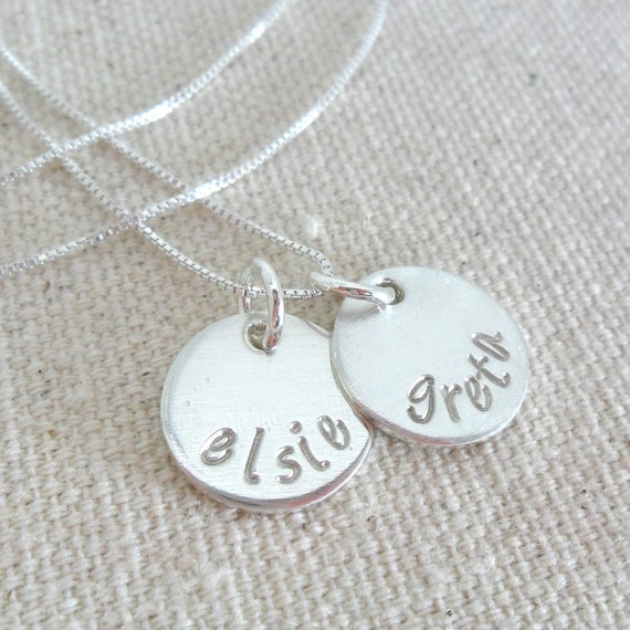 Mommy Necklace | Sterling Silver Discs | Two Discs | Two Kids' Names | Family Necklace | Hand Stamped Name Necklace | Gift for Mom
