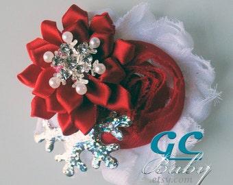Christmas Snowflakes Shabby Fabric Flower Hair Accessory - Rhinestones, Pearls - You Choose Hair Clip, Elastic Headband, Barrette