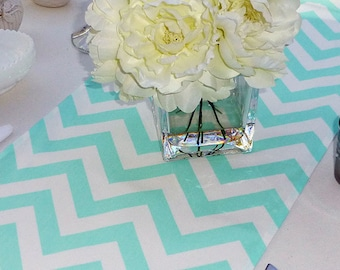 Choose your Table Runner, Mint Green Chevron Table Runners for Wedding Decor, Birthday Parties, Party Decor, Holidays - You Select Size