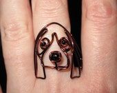 Wire Wrapped Beaded Basset Hound or Other Dog Ring MADE to ORDER