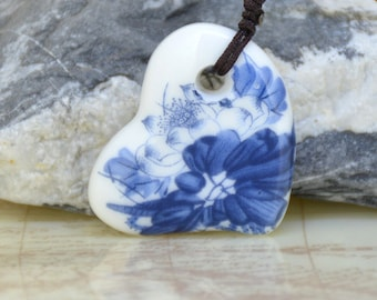 Unique Heart Blue Moonlight over the lotus pond Flower Chinese hand painted porcelain Pendant ,34mm Handmade Bead ,Love Wedding Jewelry