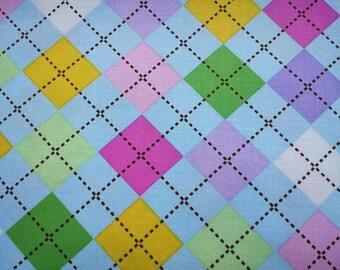 SALE - Bright argyle, pale blue, 1/2 yard, pure cotton fabric