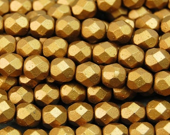 Matte Metallic Goldenrod Czech Glass Firepolished 6mm Beads -25