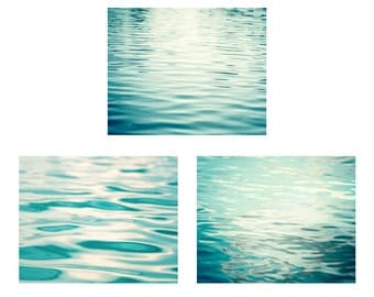 Mint Water Wall Art - Set of 3 Photographs, ocean beach mint green photography ripples lake decor sea calming coastal art prints waves