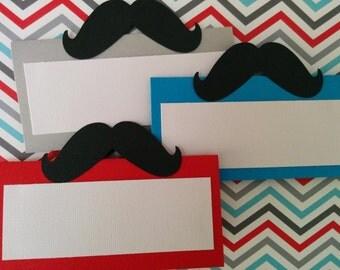 Mustache place cards, Mustache food tents, Little man place cards, Little man food tents