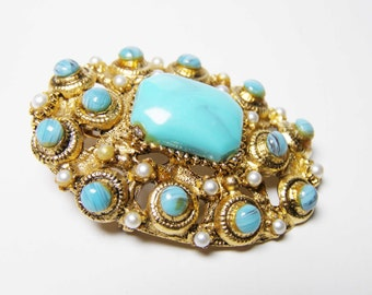 Stunning BSK Faux Turquoise Brooch Pendant - Vintage Designer Signed Jewelry on SALE
