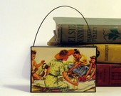 FAMILY PICNIC ORNAMENT Handmade Ornament from Vintage Upcycled Book Childrens Reader Christmas Ornament Mothers Day Gift