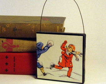ORNAMENT SNOWBALL FIGHT Handmade Ornament from Vintage Upcycled Book Childrens Reader Christmas Ornament Winter