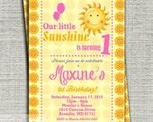 Sunshine Birthday Invitation, You Are My Sunshine Birthday Invitation, 1st Birthday Party Invitation-Printable DIY