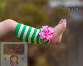 Leg Warmers for girls -- Hot Pink and Green bow leg warmers-- St. Patrick's Day