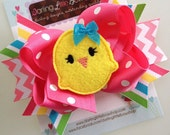 Easter Chick Bow -- Easter Bow -- Sunshiney Day -- layered with Chickie Center -- yellow, hot pink, turquoise, lime, coral