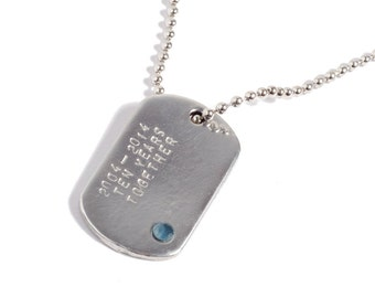 Tin Gifts For Men - Pure Tin Mens Dog Tag With Topaz Stone - Personalised
