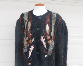 Vintage Mohair Sweater . Oversized Cardigan . 1980s Embellished Sweater . Black Chunky Fuzzy Cardigan . M-XL