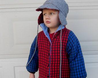 Vintage Toddler Coat Set . Lumberjack Coat and Hat . Plaid Jacket . Reversible Jacket . Size 3-4T