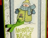 Merry and Bright Snowman Christmas Card