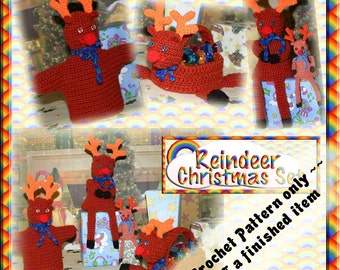PDF Crochet Pattern Reindeer Christmas Set