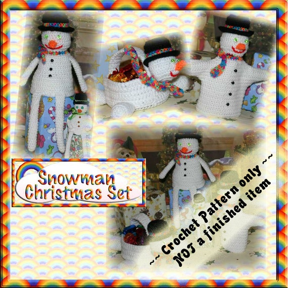 PDF Crochet Pattern Snowman Christmas Set