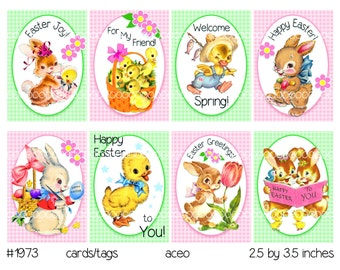 Digital clipart, instant download, Vintage Easter Images, Bunnies Ducks, Childrens Easter Cards, Tags--8.5 by 11--Digital Collage Sheet 1973