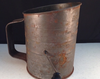 "Vintage Bromwell's Measuring Sifter Three Cups with Rustic Patina 5.75"" Tall Diameter of 4 & 3/8"" Previously Eighteen Dollars ON SALE"