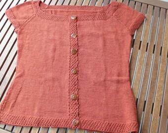 Rowan Pima cotton terracotta handknit top sweater XL