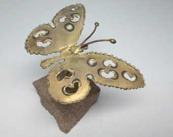 vintage metal butterfly mounted in actual stone . mid-century modern style similar to jere