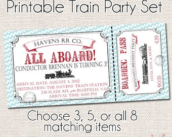 Vintage Train Deluxe Printable Party Package - Train Birthday Party - Banner - Invitation - Tags - Water Bottle Labels - Cupcake Toppers