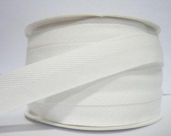 "5 yards Off-White Wide Herringbone Tape (3/4""), White Cotton Tape, Cotton Ribbon, Cotton Twill Tape, Wholesale Ribbon,White twill tape"