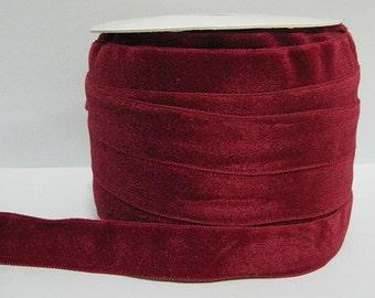 """5 yards 7/8"""" Ruby Velvet Ribbon, Dark Red Velvet Ribbon, Ribbon, Ribbon lot, Red Tape, Wholesale Ribbon, Red Velvet Ribbon, Velvet ribbon"""