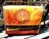 Leather Star Trek Laptop Bag with a carving of Spock's Live Long and Prosper Salute LLAP