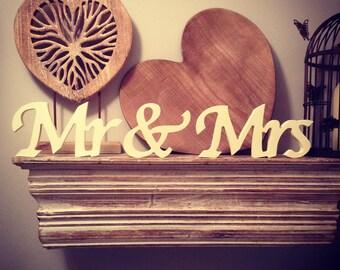 12cm Handpainted Freestanding Wedding Letters - Mr & Mrs - New Chancery Font