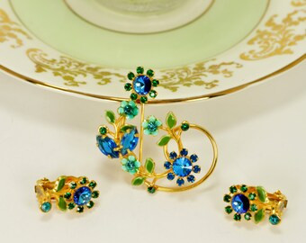 Vintage Jewel Tone Brooch and Clip Earring Set