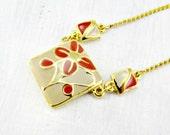 Vintage THAILAND Orange Flower Necklace, Cloisonne Enamel Necklace, Geometric Square Pendants, Gold Chain Necklace, 1980s Vintage Jewelry