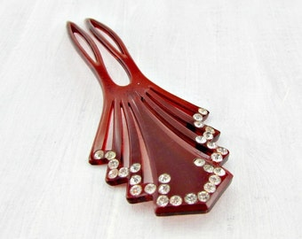 Vintage Rhinestone Hair Comb, Cherry Red Hair Comb, Celluloid Plastic Hair Comb, Art Deco Hair Comb, 1970s Fashion Hair Accessory