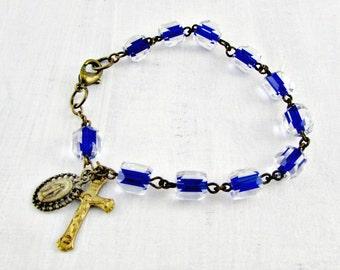 Vintage Catholic Rosary Bracelet, Blue Crystal Rosary Bracelet, Brass Rosary Cross Medal, 1960s Christian Religious Jewelry