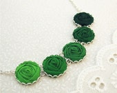 Green Fabric Flower Necklace in Forest, Leaf, Meadow & Hunter - Woodland Wedding
