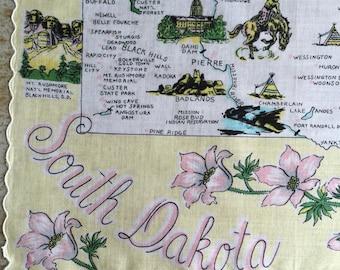 Vintage South Dakota Handkerchief 12034