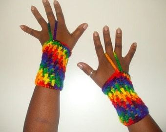 Crochet Wrist Warmers, Cuffs with Finger Loop, Fingerless Gloves- RAINBOW