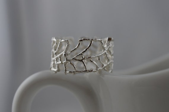 Sterling Silver Wide Open Weave Web Ring - Organic Nature Inspired Ring