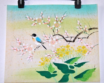 """Chinese Ink Painting on Rice paper 17"""" x 14"""" Flowers Bird Signed Art Hand painted Watercolor Chinoiserie Wall Decor"""