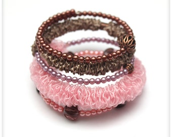 Chunky PINK and BROWN Ribbon Bracelet