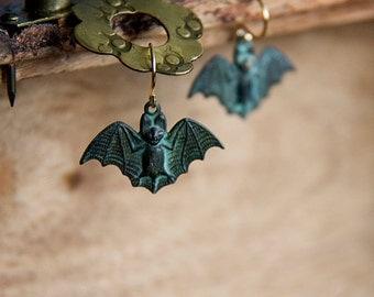 Verdigris Bat Earrings Little Green Bat Dangles Spooky Flying Bat Gothic Vampire Bat Jewelry - E278