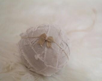 Newborn Tie Back, Newborn to Child Sweet & Simple Little Burlap Bow Tie Back Headband on Twine, Newborn Photography Prop